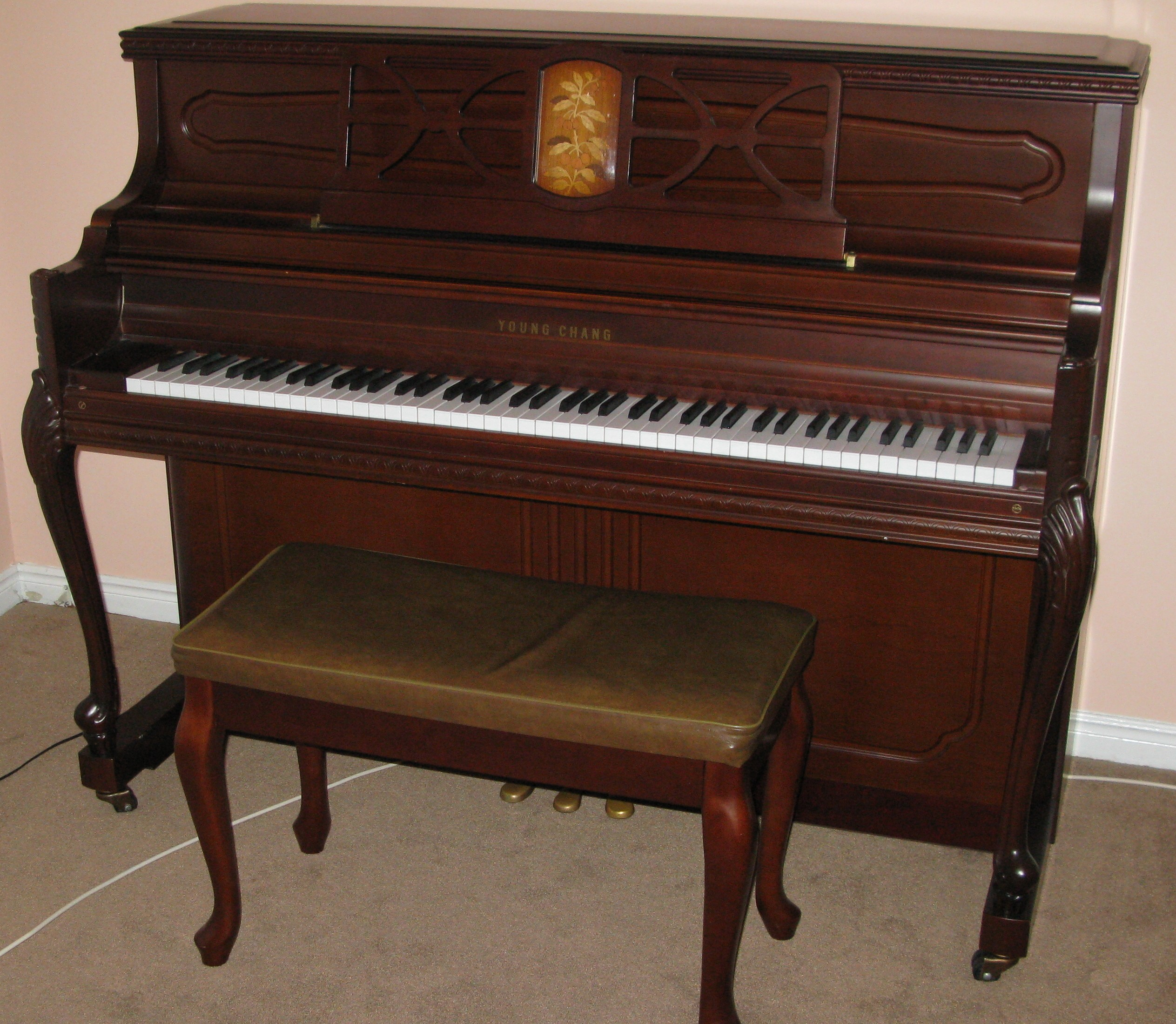 french provincial young chang uc118 upright piano for sale